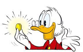 Donald Duck mit einer Münze in der Hand