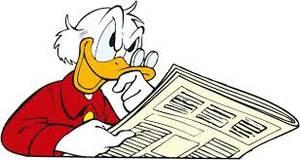 Donald Duck liest eine Zeitung